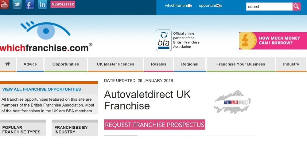 Autovaletdirect renew partnership with whichfranchise.com