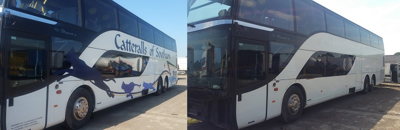 Bus and Coach sign writing graphics and wrap removal