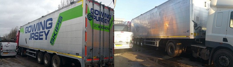 HGV Lorry and Truck sign writing graphics and wrap removal