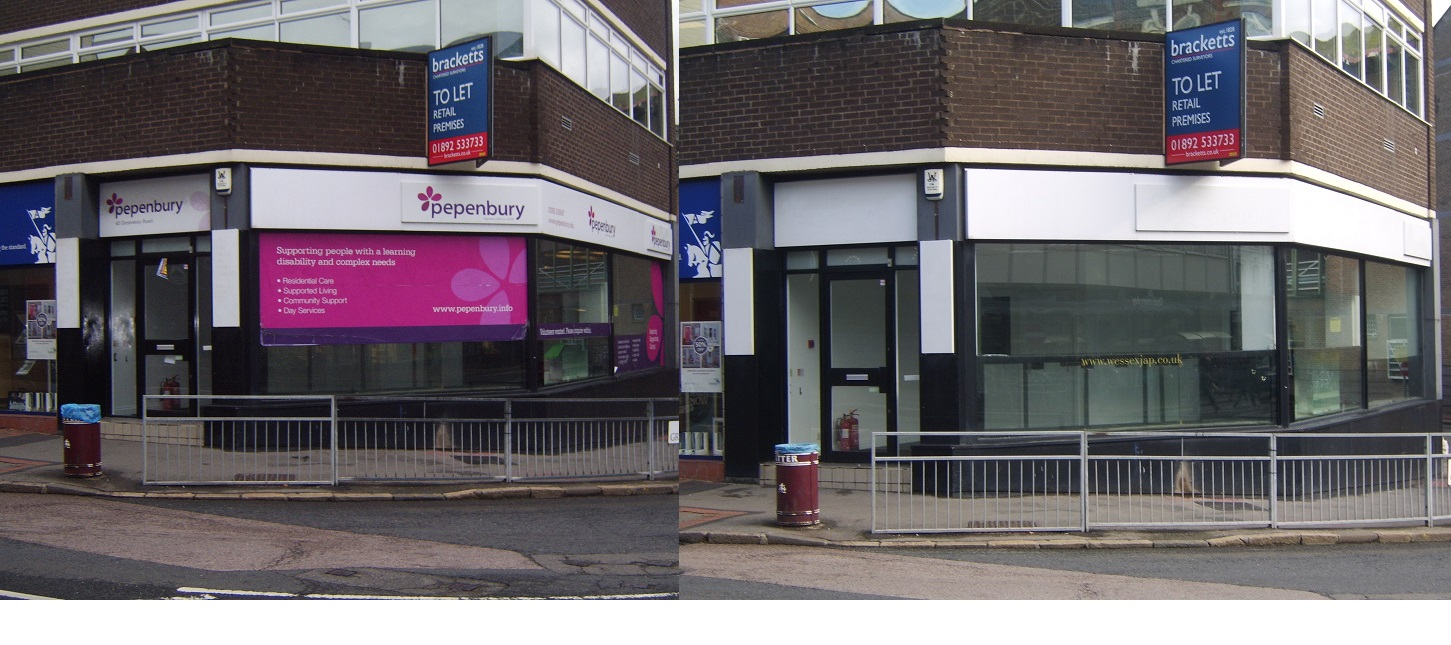 Shop front vinyl graphics and sign writing removal